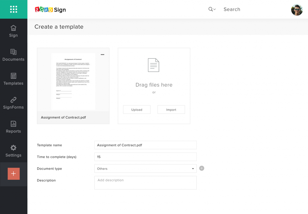 Zoho Sign Templates